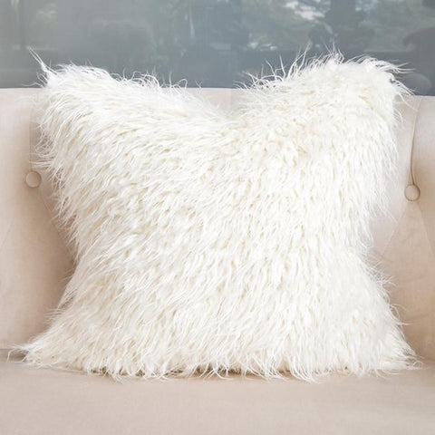FurFur Shaggy Faux Fur Cushion, Ivory