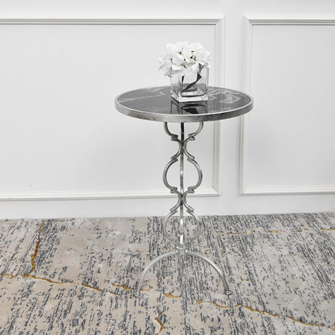 Princesse Round End Table, Silver