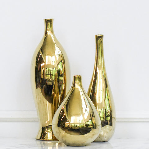 Oro Gold Sculptural Vase, in 3 styles