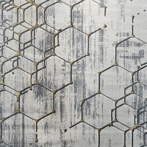 Ortega Grey Gold Silk Rug, in 2 Sizes