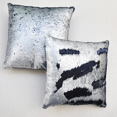 Pailettes Silver & Black Reversible Sequin Glam Cushion
