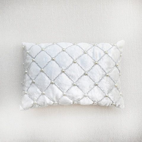 Ivory Satin Pearl Boudoir Cushion