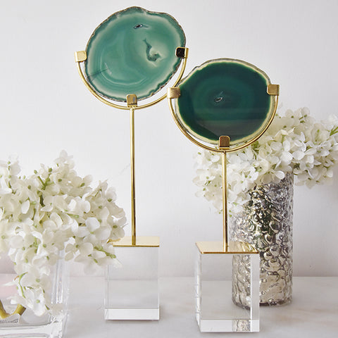 Pietra Green Agate on stand, 2 sizes