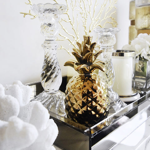 Home & Decor - Gold glossy gold pineapple accent sculptures that are great as table art and bookshelf decor and as a lucky charm.
