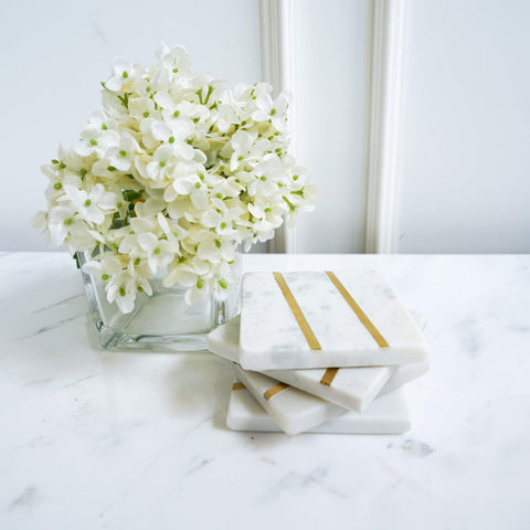 Park Avenue White Marble Coasters, Brass Inlay, Square on coffee table decor with flower and vase