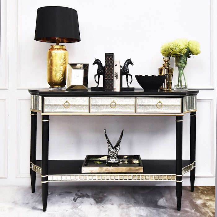 Philippe Black Gold Mirrored Console Table