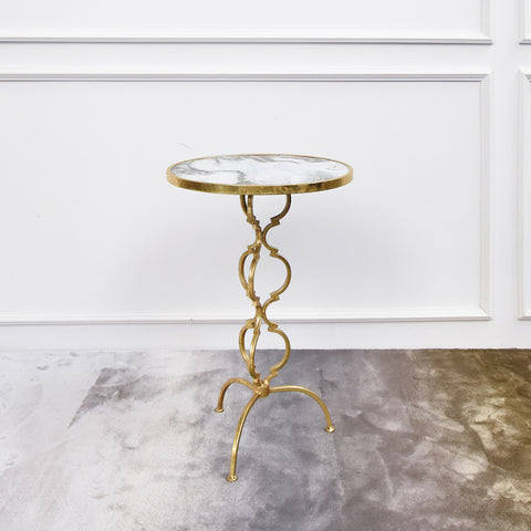 Princesse White Round Marble End Table, Gold