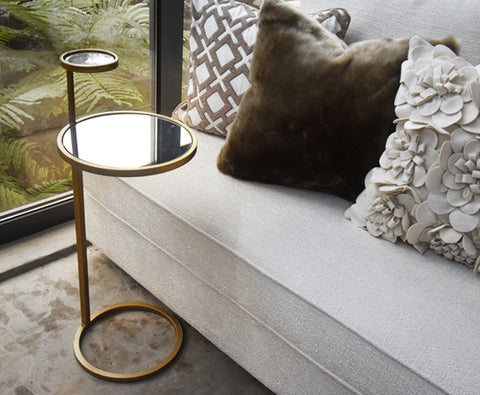 Side Table - Small C-Shaped Gold Metal Glass Accent Side Tea Table