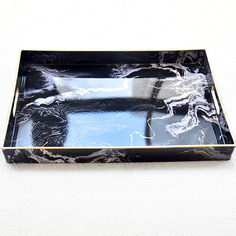 Black Marbled Tray, Rectangular