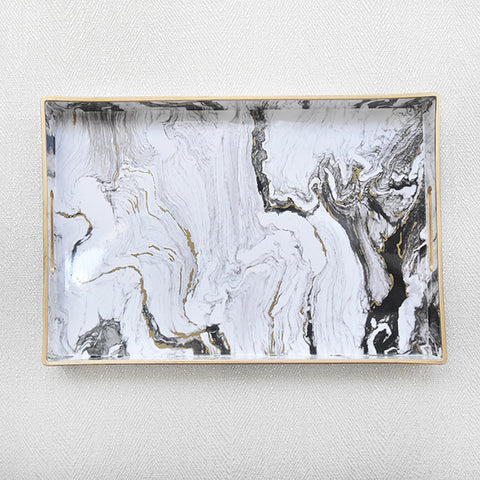 White Marbled Tray, Rectangular