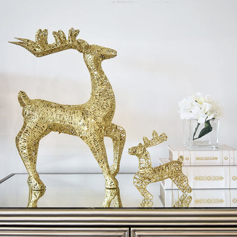 Nolie Deer - Christmas Decorative Gold Glittery Stag Grande