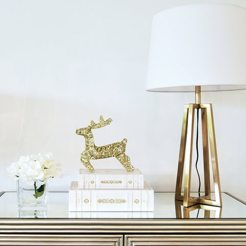 Nolie Deer - Decorative Gold Glittery Stag Petite