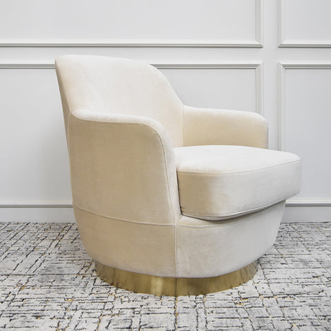 Rever Curved Velvet Gold Armchair, Ivory Cream