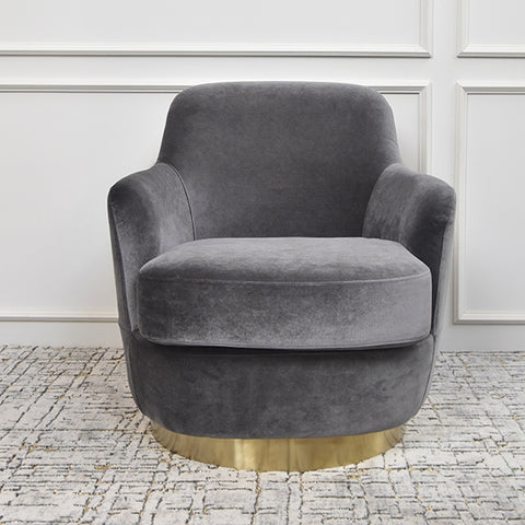 Rever Curved Velvet Gold Armchair, Grey