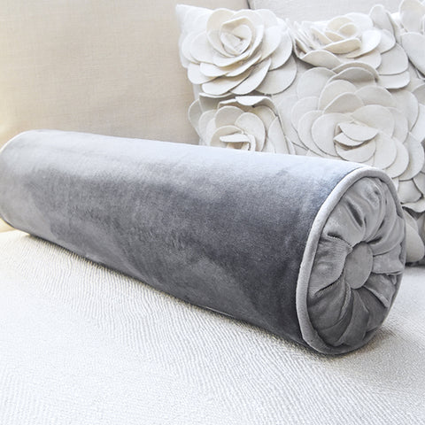 Silver Satin Grey Velvet Roll Pillow