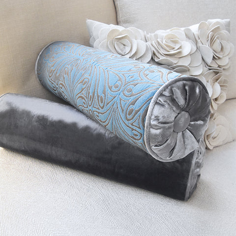 Otis Rolled Pillow Cushion, Jacquard Blue Grey