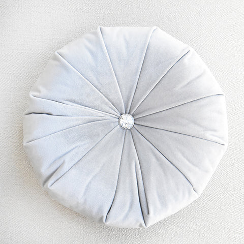 Round Cushion - Silver Velvet Polyester Round Cushion