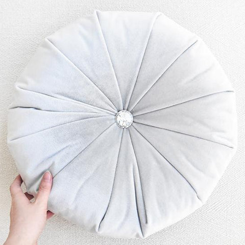 Round Cushion, Light Grey Velvet