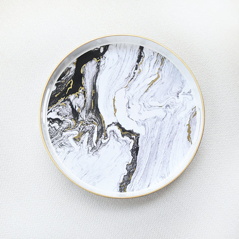 White Marbled Tray, Round