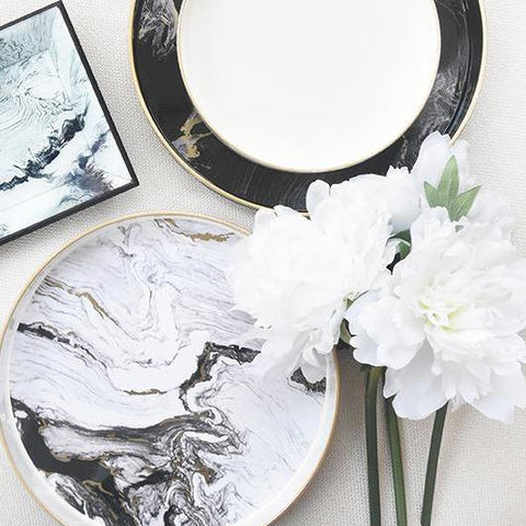 Marbled trays with White peony