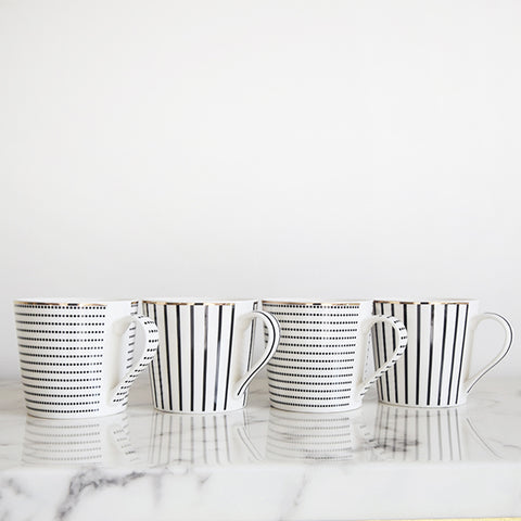 Drinking Mugs - Royal Altdorfer Black & Gold Striped Mugs (Set of 4)