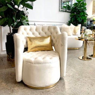 Raphael Tufted Swivel Armchair, Gold Base, Ivory Cream