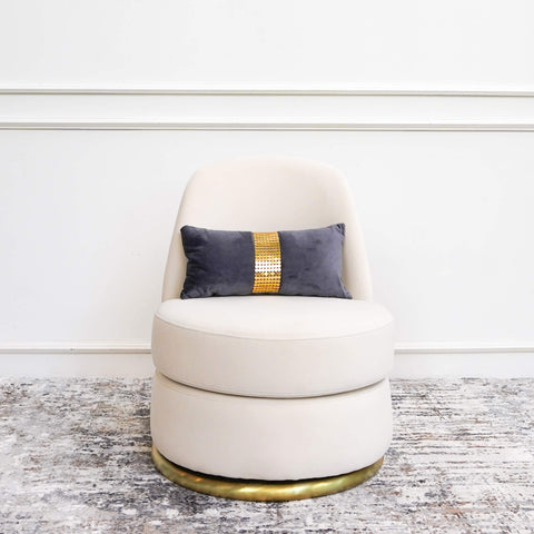 Modern Art Deco Armchair Petite in Cream Gold