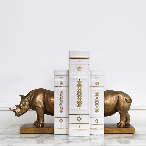 Rhinoceros Bookends Set, Bronze (Set of 2)