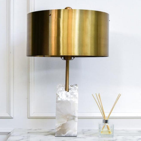 Raw Alabaster Marble Table Lamp with Gold Metal Shade