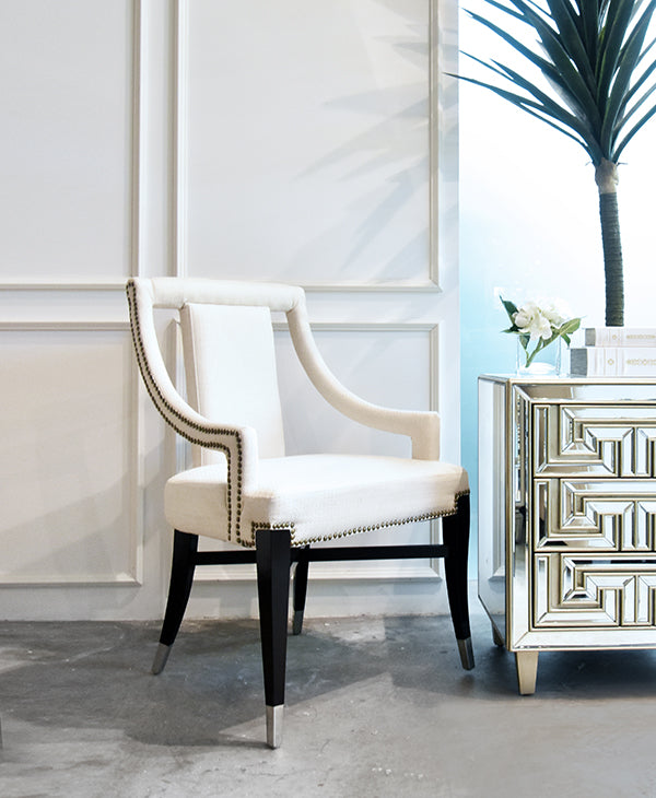 Rocco Black Cream Wood Accent Armchair In Singapore Online Furniture Store.