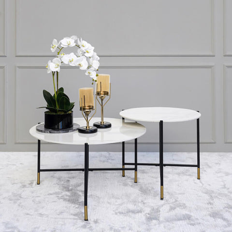 Rococo Marble Nesting Coffee Tables, Round Carrara Table Decor Ideas