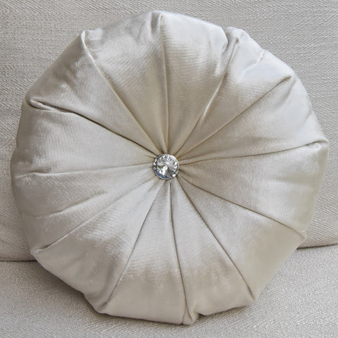 Round Cushion in Champagne Gold Satin