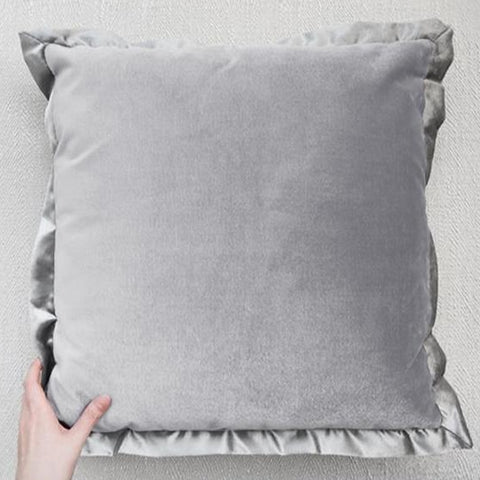 Palmer Satin Flanged Cushion, Velvet Light Grey
