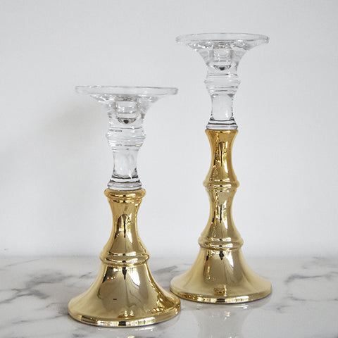 Gold Dip Candlestick Holder, Two Sizes