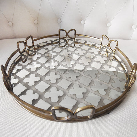 Gold Tray - Crafted from mirror and lined with gold metal design. Tray surface showcases an attractive geometric pattern.