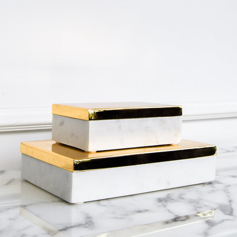 Sheaffer White Marble Box with Polished Brass Lid, 2 Sizes