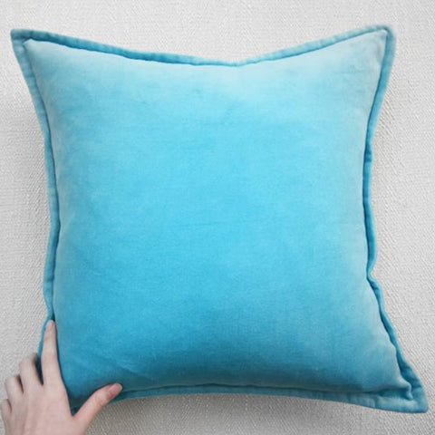 Aqua Blue Velvet Down Feather Cushion