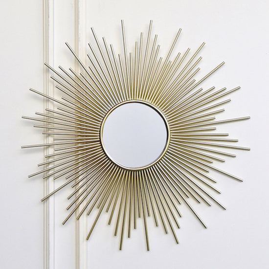 Soleil Sunburst Wall Sculpture Mirror Gold Vintage Wall Art Finn Avenue