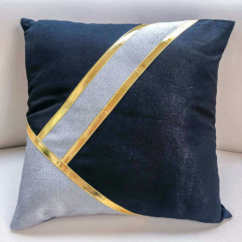 Stella Gold Stripe Cushion, Black Grey