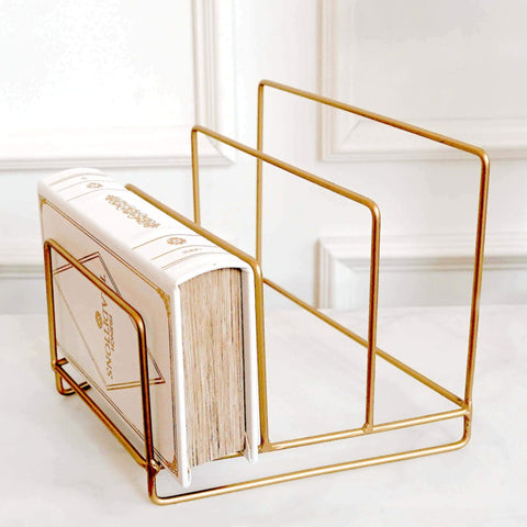 Stories Gold Magazine Rack with white book box