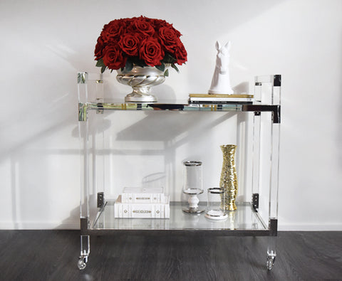 Designer acrylic and glass service trolley