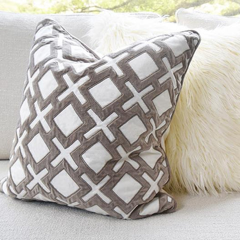 Taupe White Velvet Cotton Down Feather Cushion