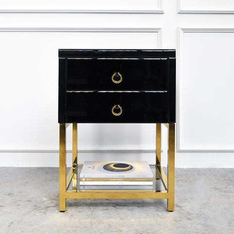 Thierry Les Amis 2-Drawer End Table, Black & Gold