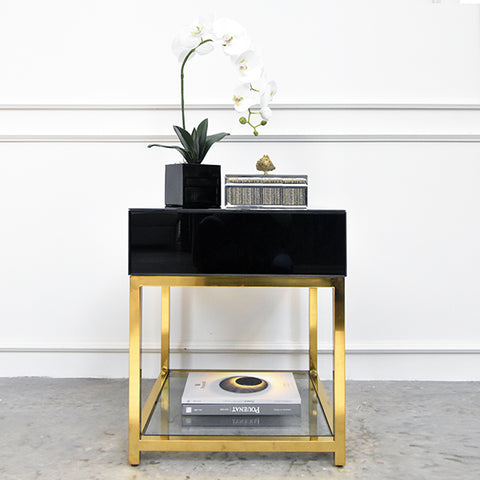 Thierry Les Amis End Table, Black & Gold