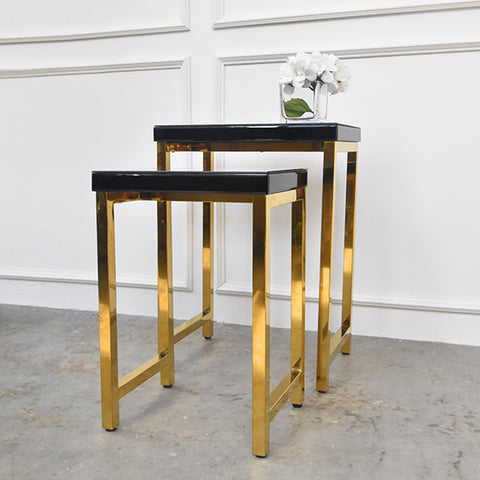 Thierry Nesting Tables in Black & Gold (Set of two)