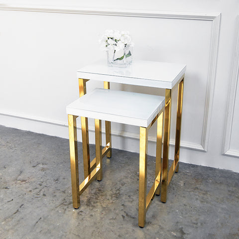 Thierry Nesting Tables in White & Gold (Set of two)