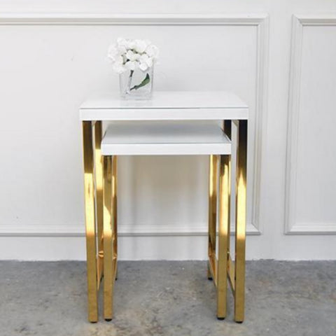 Gold White Nesting Table