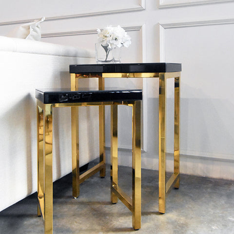 Nesting side tables with gold legs