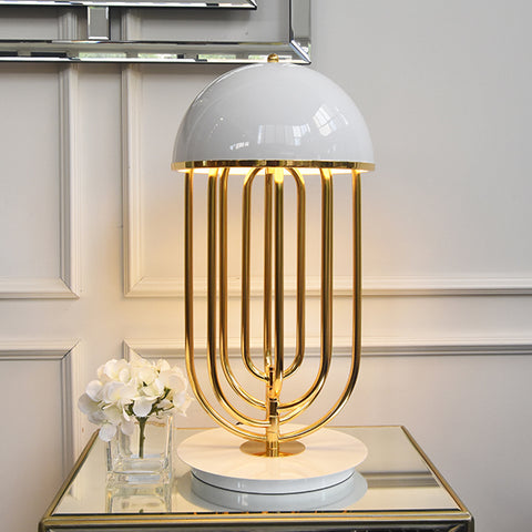 Tina Gold Arc Table Lamp, White