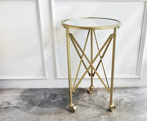 Taille gold metal glass end table on wheels